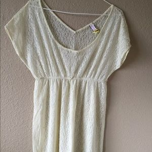 Free People S lace tunic boho cream top babydoll